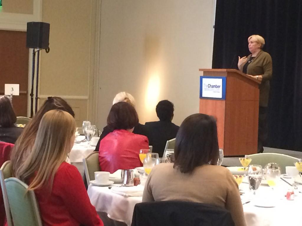 President of Suffolk University Margaret McKenna addresses the Women's Network Breakfast of the Greater Boston Chamber of Commerce. (Alexandra Werner Winslow/BU News Service)