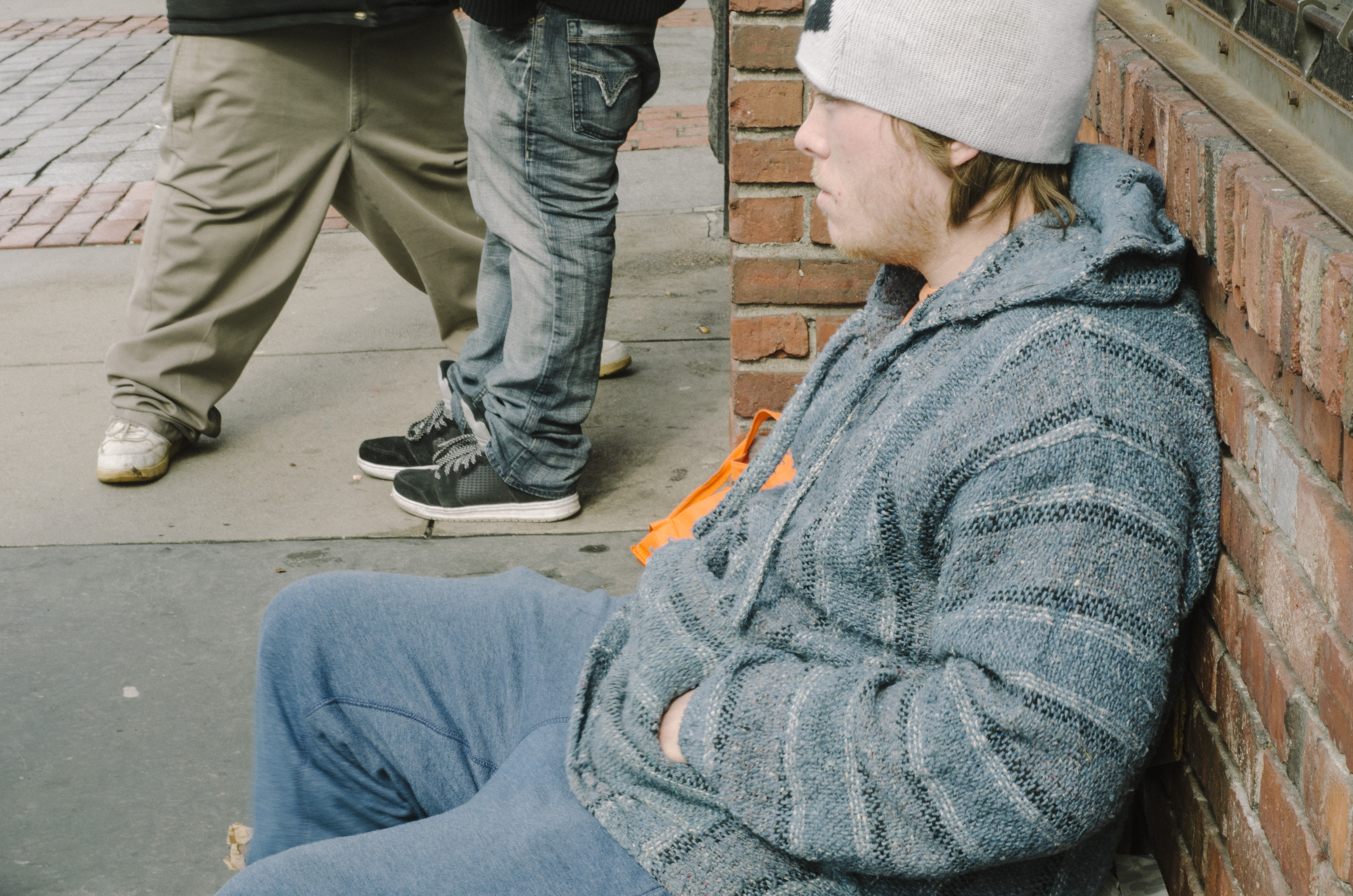 Justin Peel, 21, sits outside the McDonald's during most of his daytime.