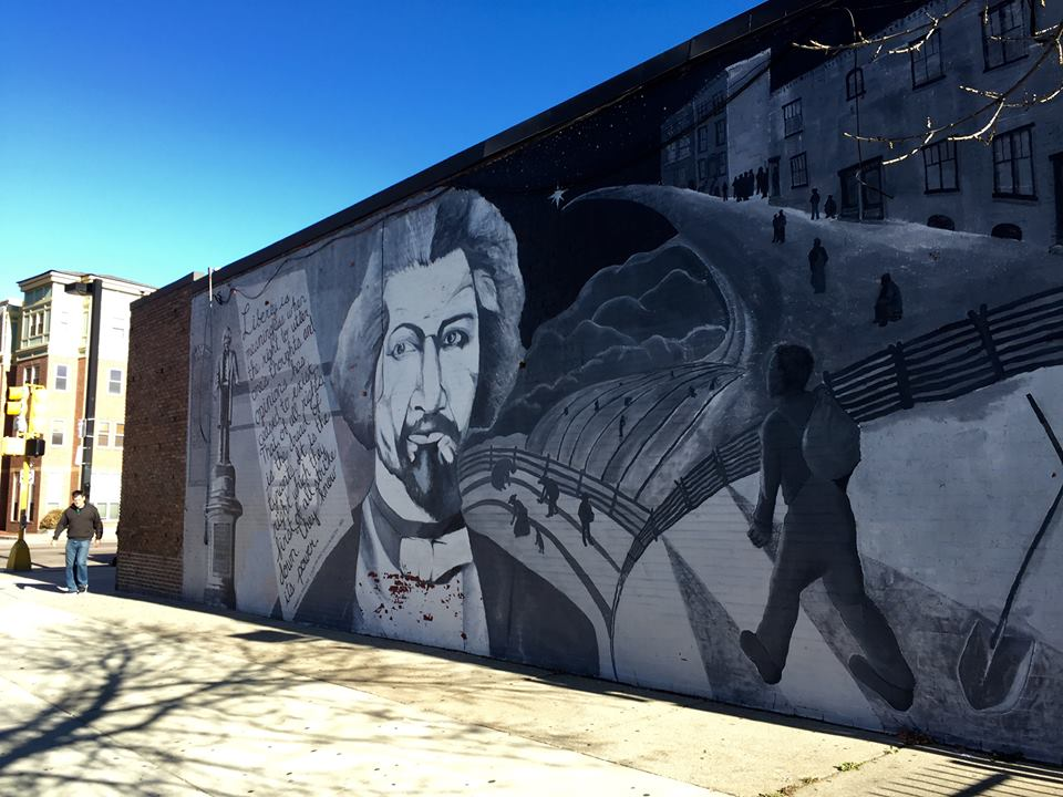 This mural of Frederick Douglass is located at Hammond and Tremont Streets.