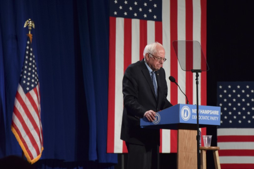 Manchester, N.H., 5th Feb 2015: Bernie Sanders said leadership is about at the McIntyre-Shaheen 100 Club Celebration. (Photo by: Emilio Doménech/BUNS)