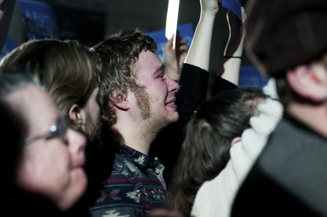 Concord, NH, Feb 9th, 2016: Bernie Sanders supporters react to his speech at Concord High after the Vermont senator won the Democratic candidate vote in the New Hampshire primary. (Marwa Morgan/BUNS)