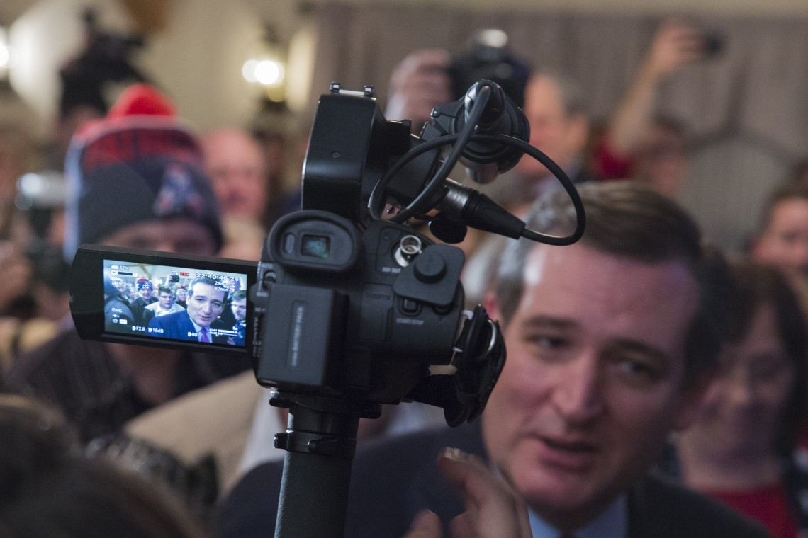 Hollis, N.H. 9th. February 2016: Republican presidential candidate Ted Cruz finished third; behind Donald Trump and John Kasich in the NH primaries. (Photo by: Dingfang Zhou/BUNS)