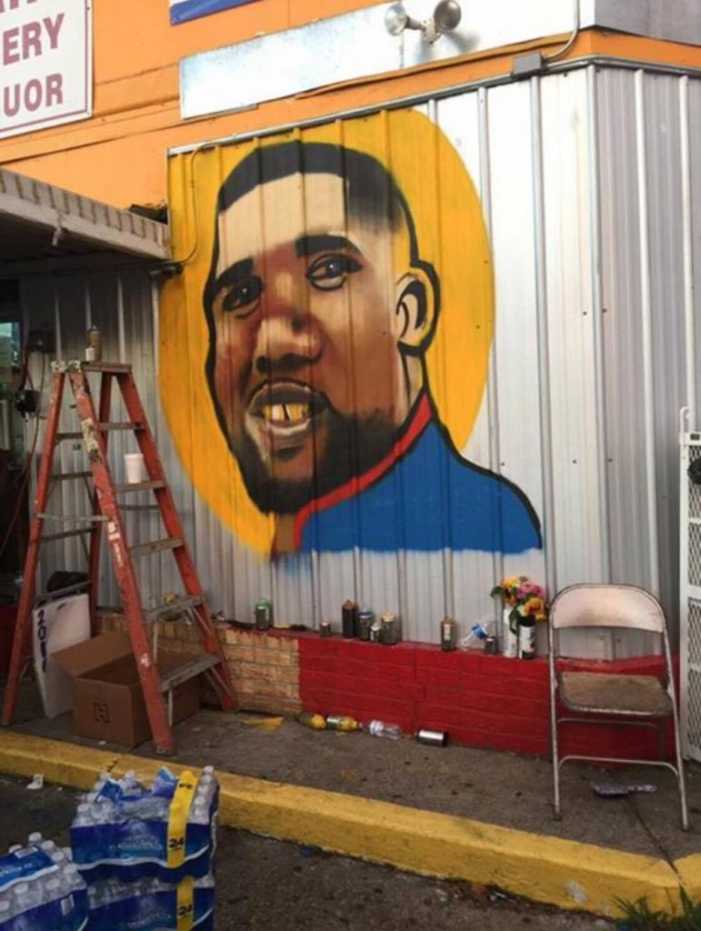 A mural memorializing Alton Sterling in Baton Rouge, LA. Photo courtesy of John-Pierre LaFleur
