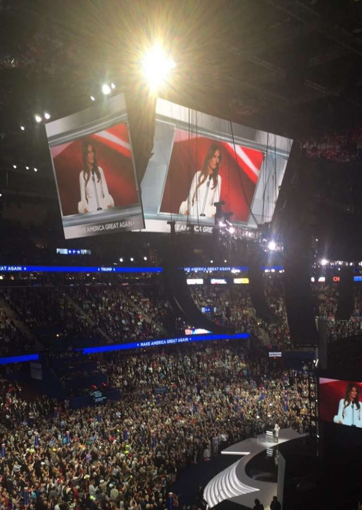 Melania Trump, wife of Republican presidential nominee Donald Trump, speaks at the Republican National Convention on Monday, July 18, 2016. (Andrea Asuaje/ BU News Service)