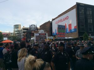 Protesters gather outside the Republican National Convention in Cleveland, Ohio. Photo by Jonathan Gang.