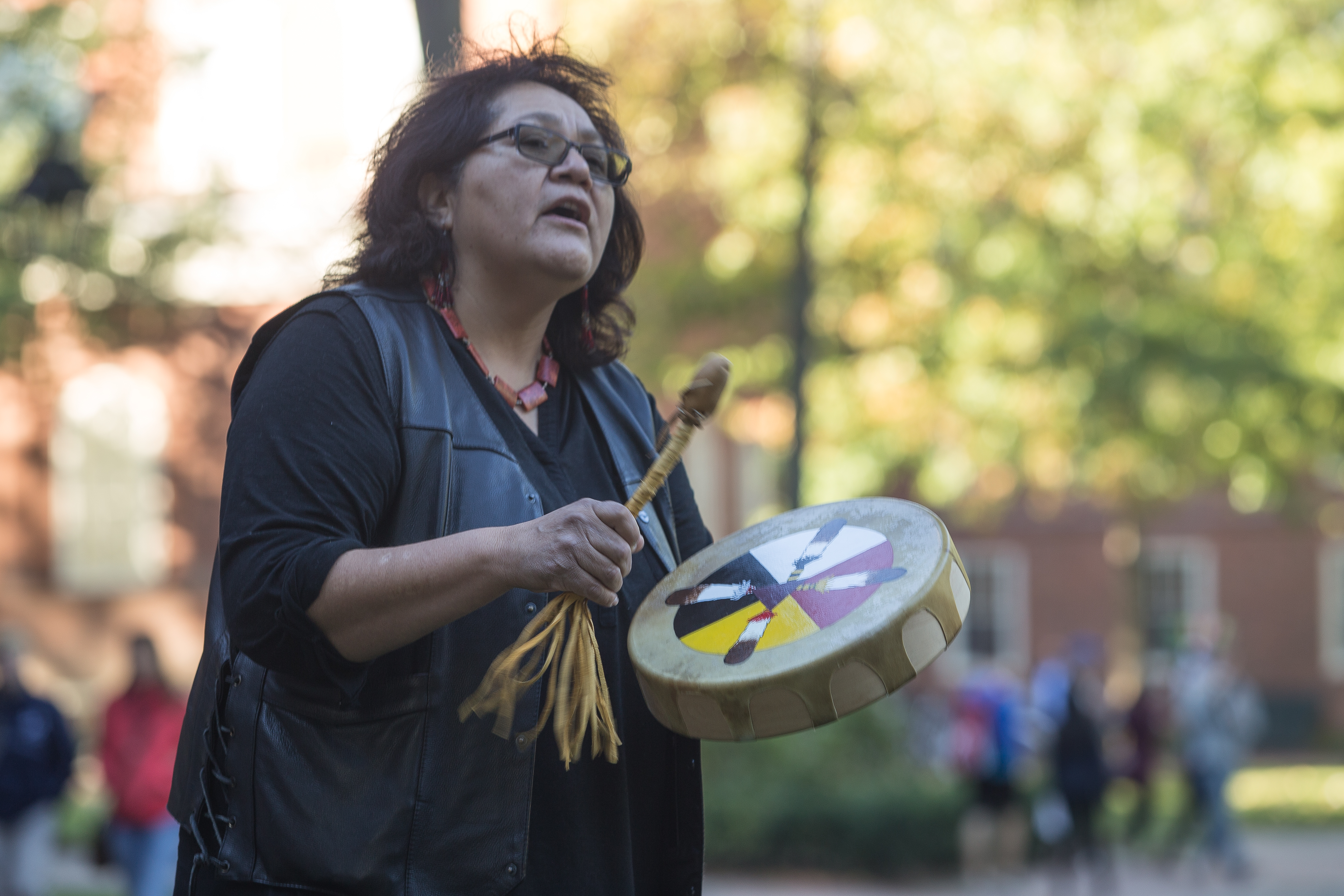 Gerri Barney performs at the Indigenous Peoples' Day celebration at Harvard University. Photo by Alexandra Wimley/BU News Service