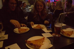 One of the included 3 slices of pizza on the Boston Pizza Tour. The warmth of the pizza and the warmth of the pizzeria was appreciated
