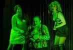 "(From left) Caroline Worra, Marcus Farnsworth, and Amanda Crider perform in the Boston Lyric Opera production of Mark Anthony Turnage's ""Greek"".  Photo by Liza Voll/Boston Lyric Opera"