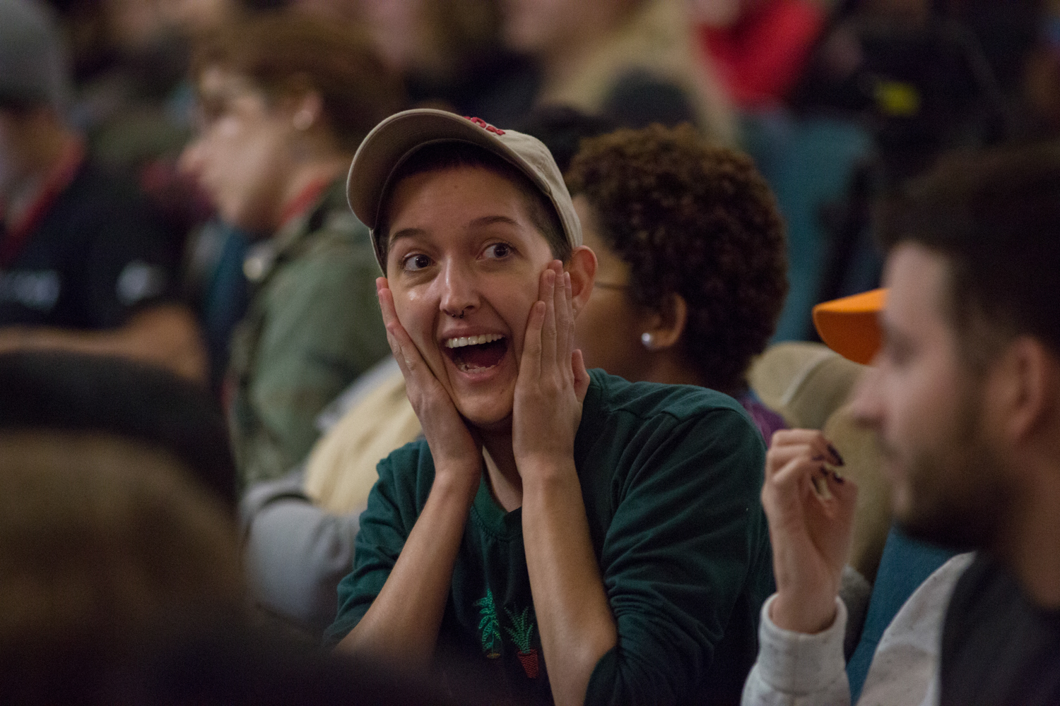 Lindsey Fourt (CFA '18) reacts during the debate.