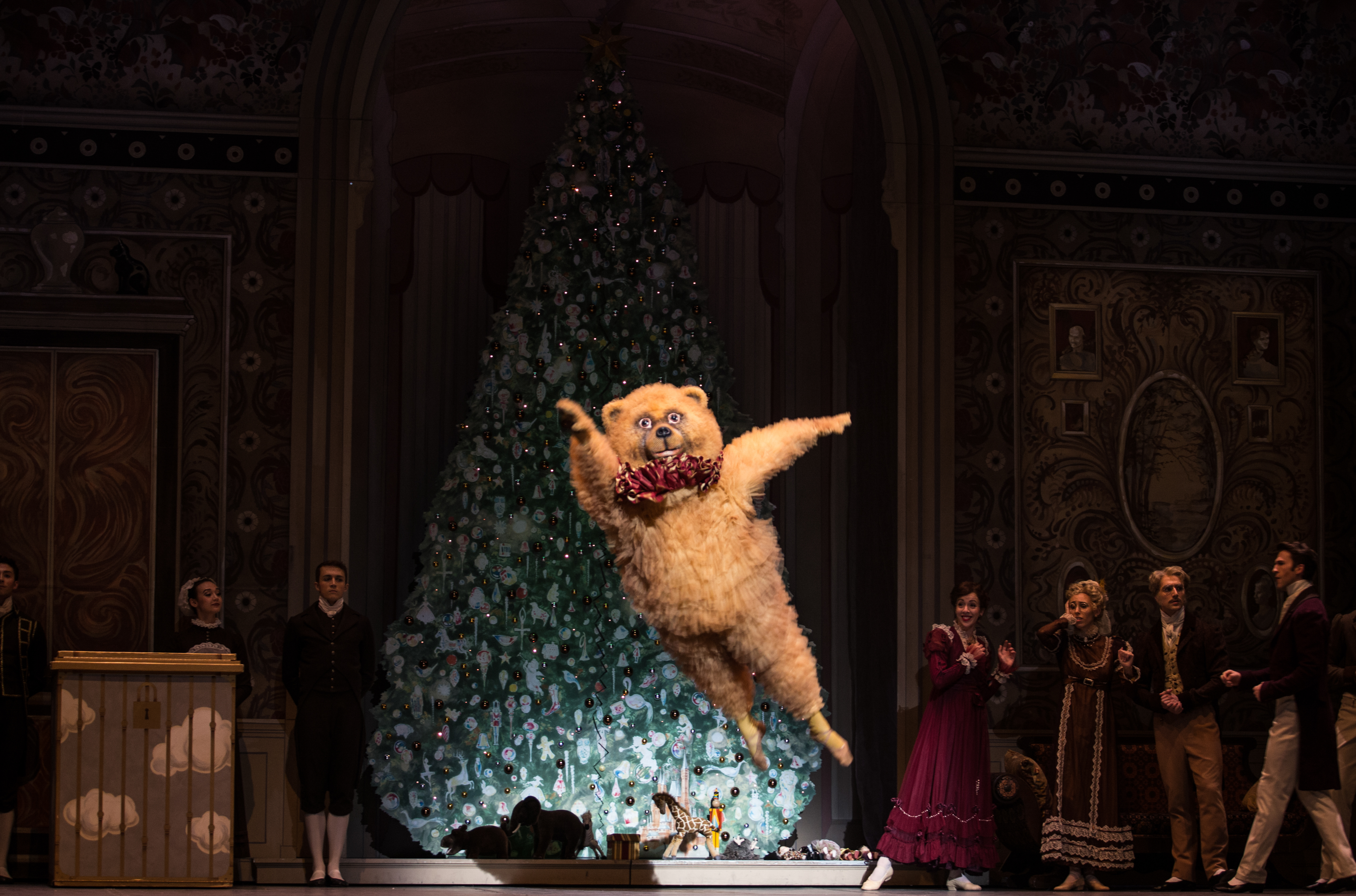 "BOSTON, November 25, 2016 – The Bear in Boston Ballet's ""The Nutcracker"" during the Party Scene in dress rehearsal. Photo by Kankanit Wiriyasajja."