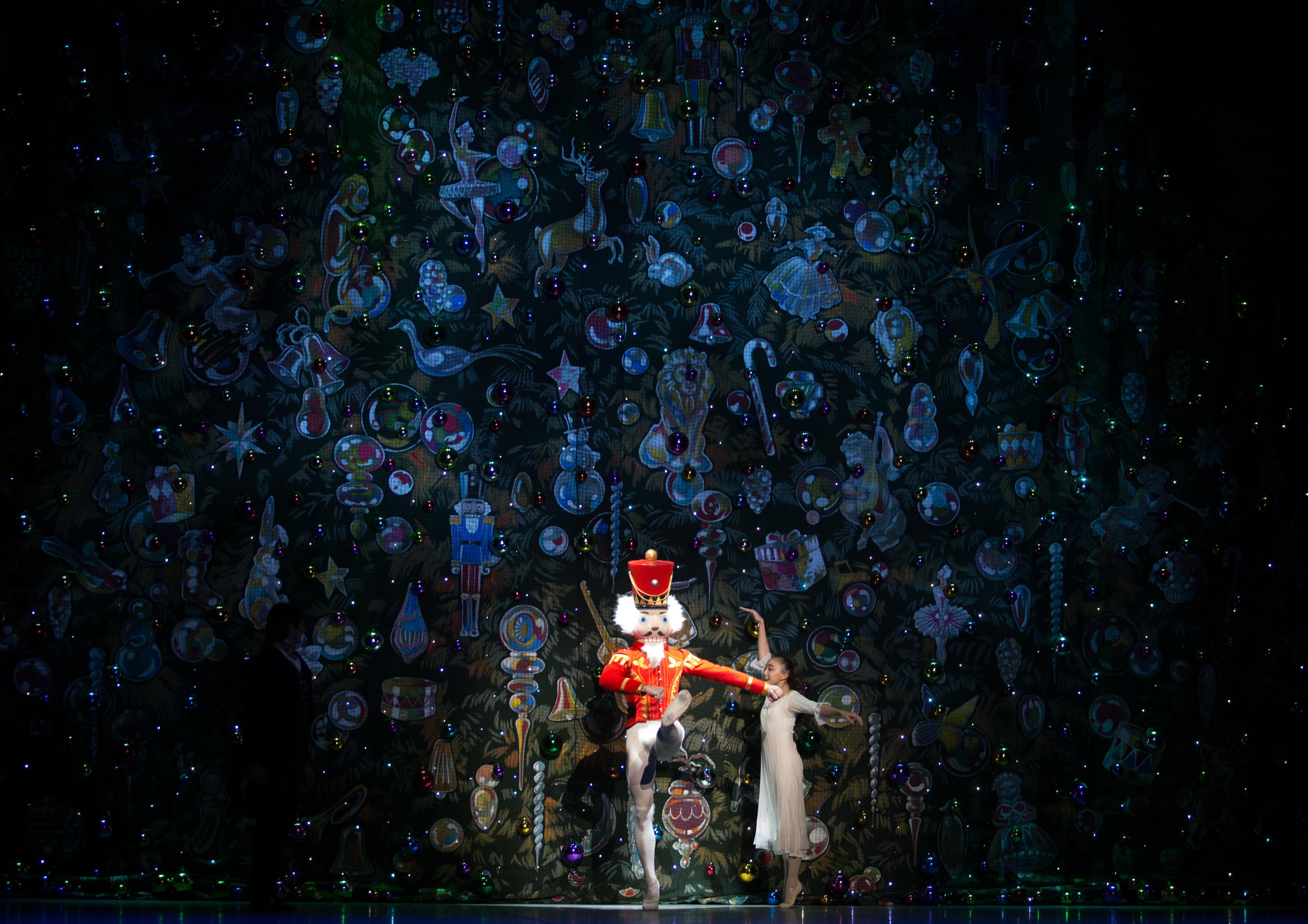 "BOSTON, November 25, 2016 – The Nutcraker Prince, Patrick Yocum and Clara, Delia Wada-Gill, at dress rehearsal for Boston Ballet's ""The Nutcraker."" Photo by Kankanit Wiriyasajja."