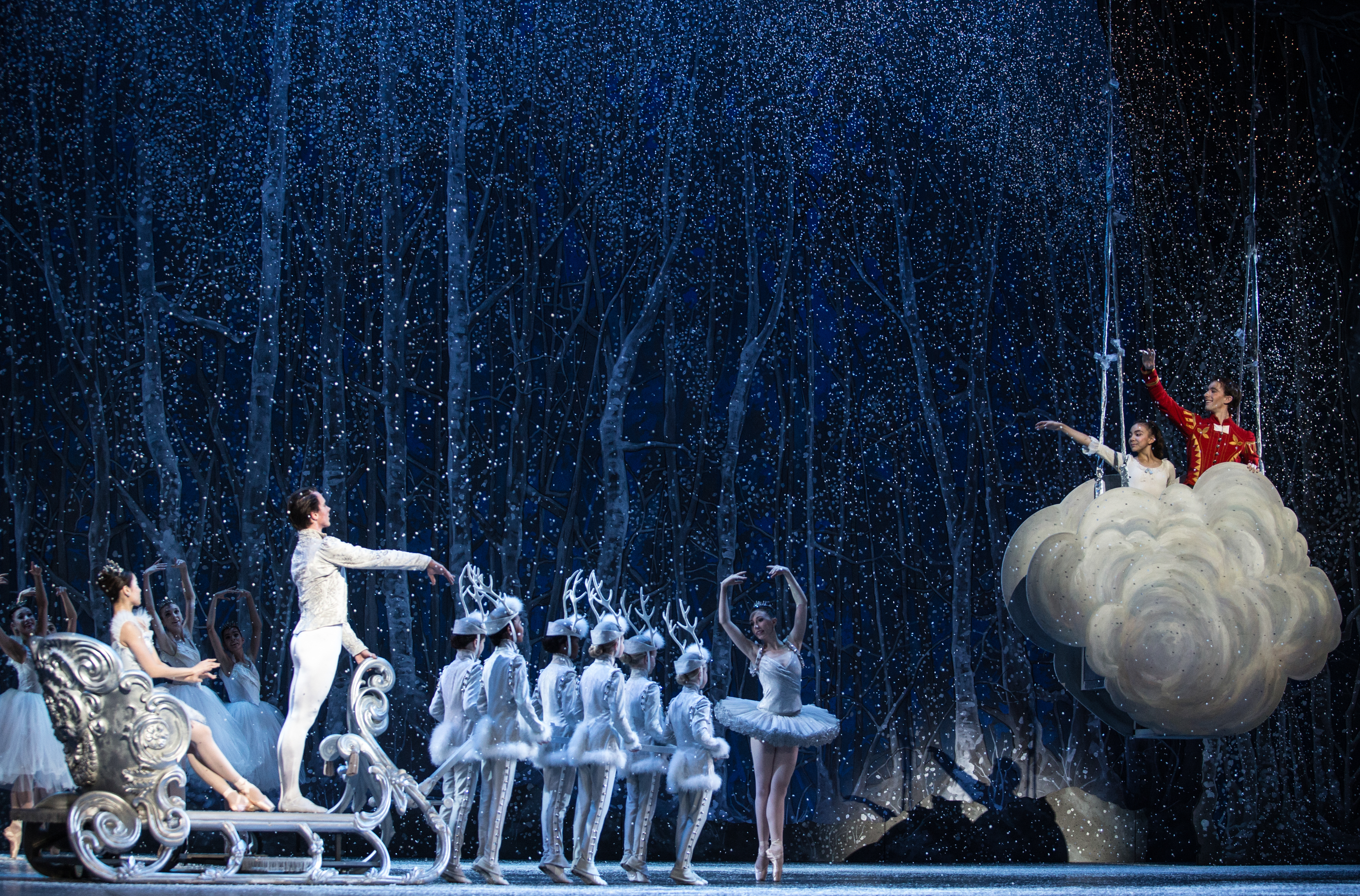 "BOSTON, November 25, 2016 – Boston Ballet's Seo Hye Han and Paul Craig as Snow Queen and King, farewell to Clara, Della Wada-Gill, and The Nutcraker Prince, Patrick Yogum, at dress rehearsal of ""The Nutcracker."" Photo by Kankanit Wiriyasajja."