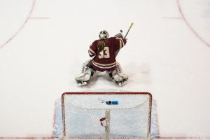 BC goaltender Katie Burt held the Terriers in check after allowing back-to-back power play goals in the second period. Photo by Graham Pearsall/BU News Service