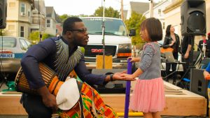 Jonathan Mande, 27, founder of Drums and Wellness, thanks a girl after the drum session at the 2018 Fluff Festival. Somerville, Mass. September 22, 2018. Photo by Diego Marcano / BU News Service.