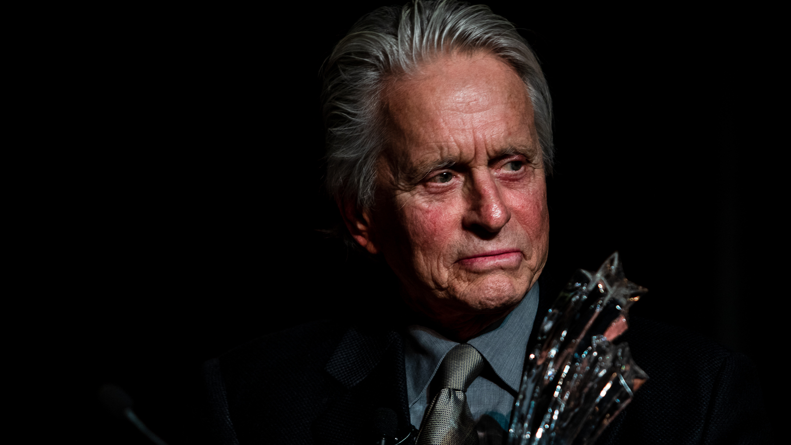 Michael Douglas, actor and director, received the Bette Davis Lifetime Achievement Award and shared his experience in films with the audience at Boston University in the evening of Nov. 28, 2018. Photo by Aaron Ye / BU News Service.