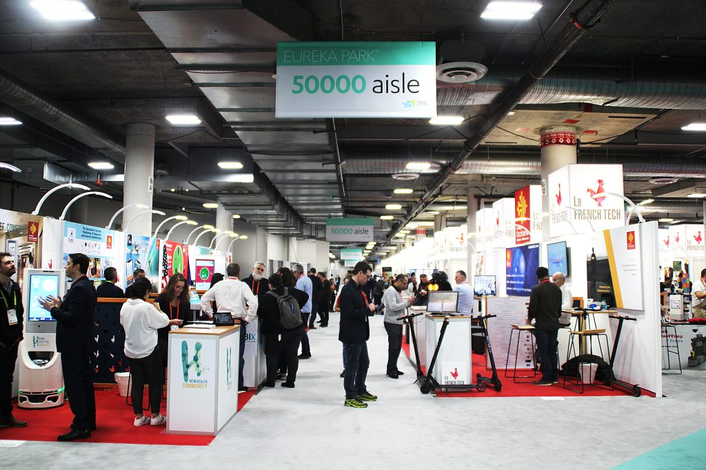 One of the aisles of Eureka Park, CES's startup space