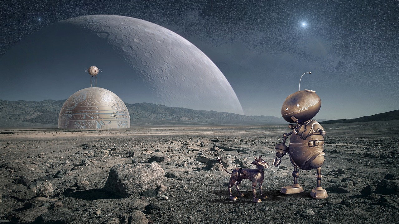 Image of a foreign planet with two robot-like beings